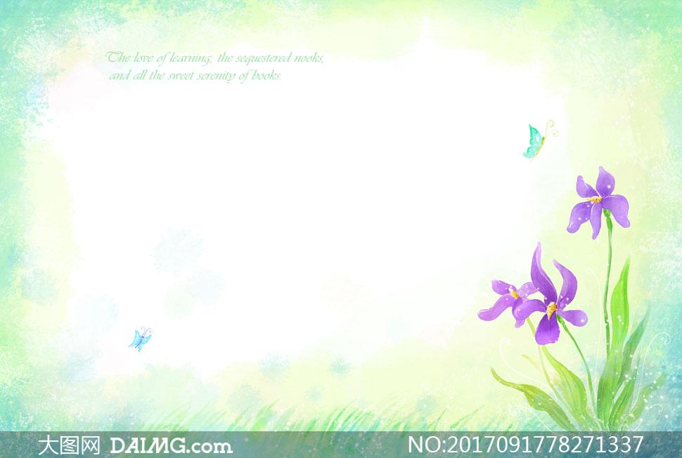 蝴蝶花朵装饰水彩背景设计分层素材