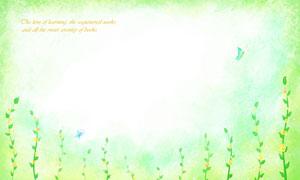 清新水彩风格藤蔓装饰背景分层素材