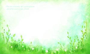 蒲公英花草丛植物水彩背景分层素材