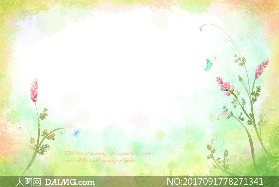 水彩风格花卉植物边框背景分层素材