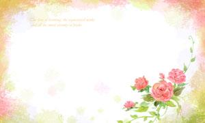 红花绿叶藤蔓装饰边框背景分层素材
