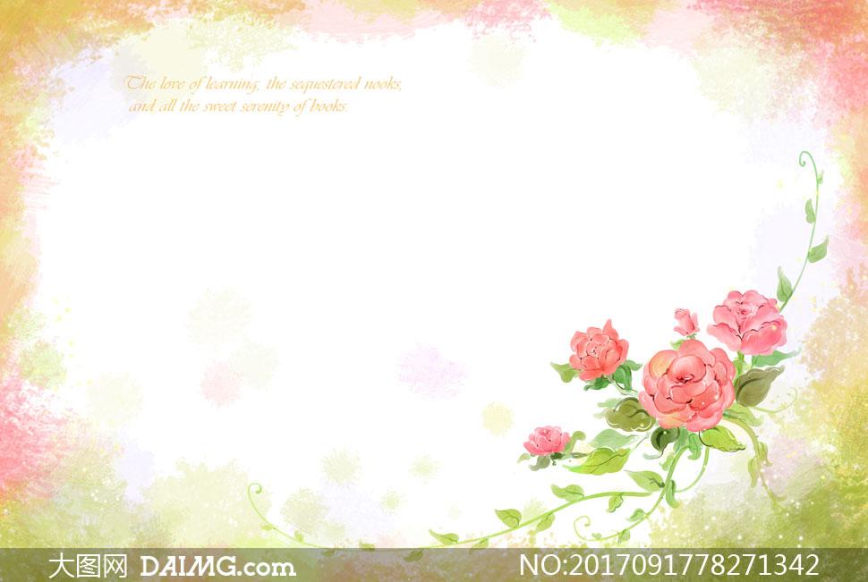 设计素材创意设计春天水彩插画花朵花卉植物边框背景红花绿叶花藤藤蔓