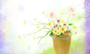 花卉植物与紫色的水彩边框分层素材
