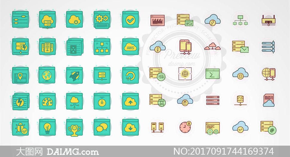 云服务云主机主题图标设计矢量素材
