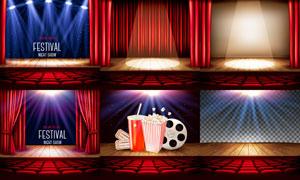 影院剧场舞台灯光与观众席矢量素材
