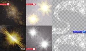 散景光斑与四射的光芒元素矢量素材