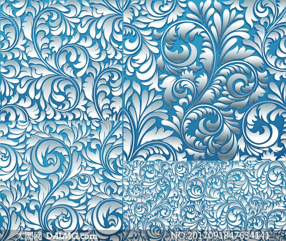 蓝底浮雕效果无缝花纹图案矢量素材