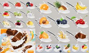 汤匙中的巧克力水果等创意矢量素材