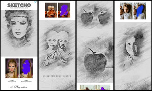 中文版人像转素描绘画效果PS动作