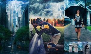 暴风雨和闪电GIF动画效果PS动作