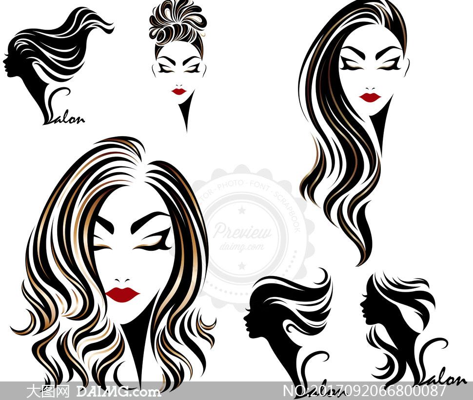 美女人物剪影元素发型元素矢量素材
