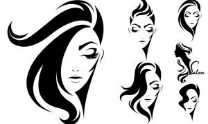 黑白剪影美发人物主题创意矢量素材