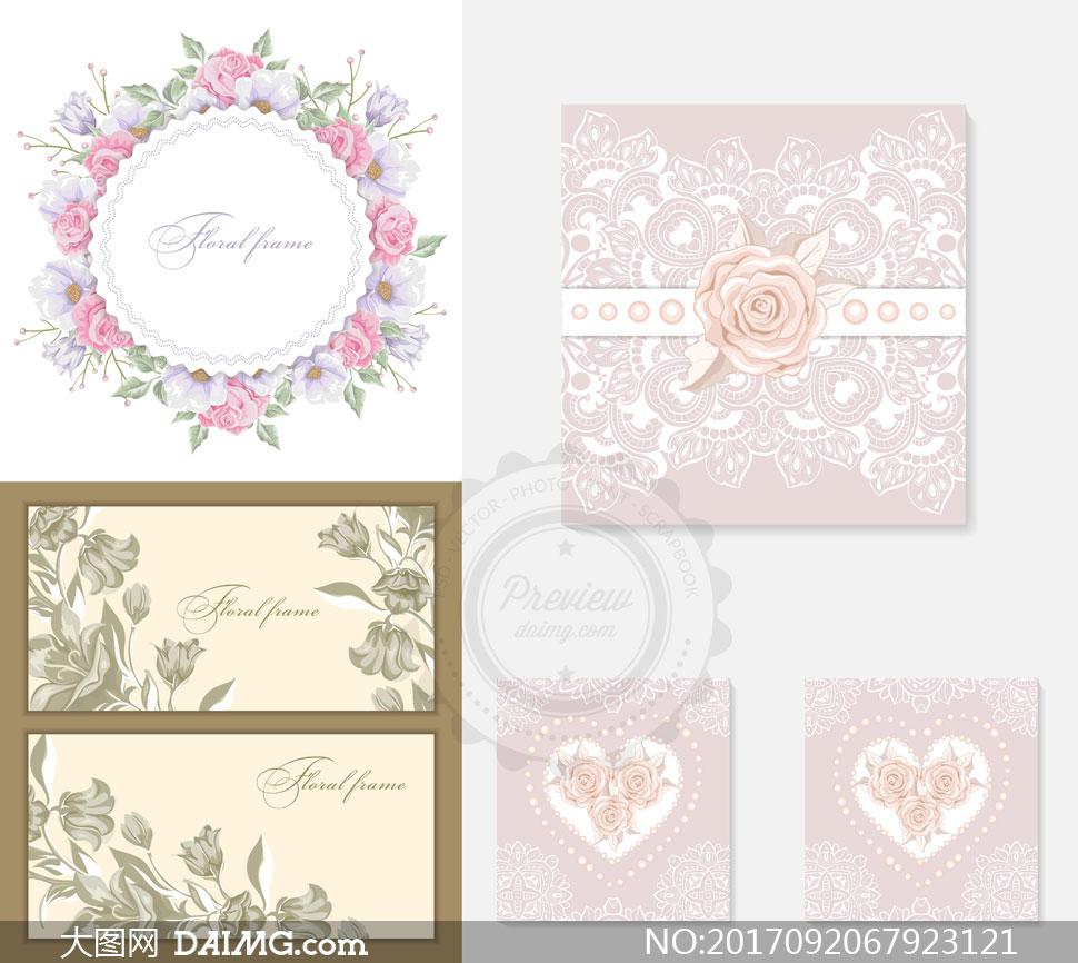 素材创意设计花朵花卉鲜花圆形边框花边虚线线描白描玫瑰花心形桃心