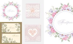 花朵边框与线描花纹图案等矢量素材