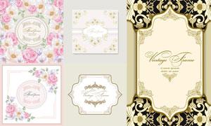 鲜花与欧式怀旧花纹边框等矢量素材