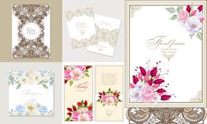 花纹图案与鲜艳的花朵装饰矢量素材