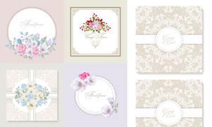 鲜艳花朵与花纹边框装饰等矢量素材