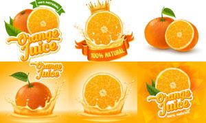 鲜榨橙汁与切开的橙子主题矢量素材