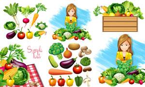 茄子辣椒玉米与洋葱等蔬果矢量素材