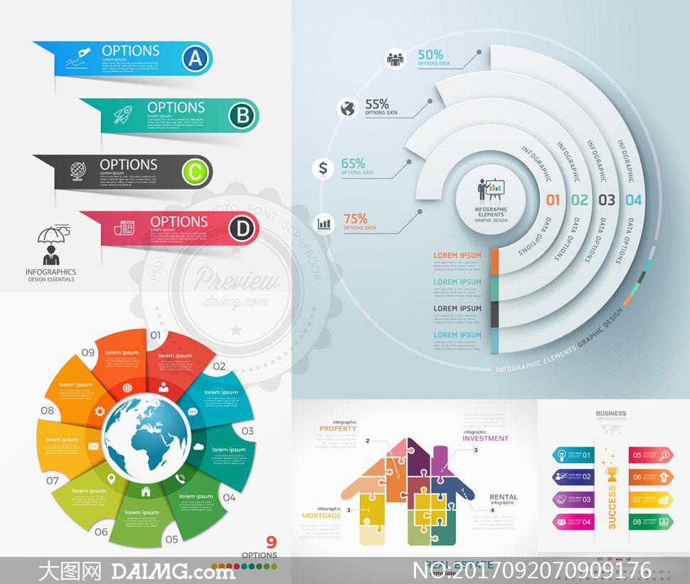 环形图饼状图等信息图创意矢量素材