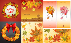 秋天树叶边框与蝴蝶结创意矢量素材