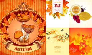秋天树枝树叶与咖啡等创意矢量素材