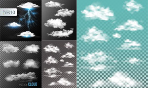 多款逼真效果云朵元素矢量素材V01