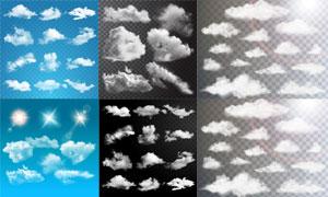 多款逼真效果云朵元素矢量素材V04
