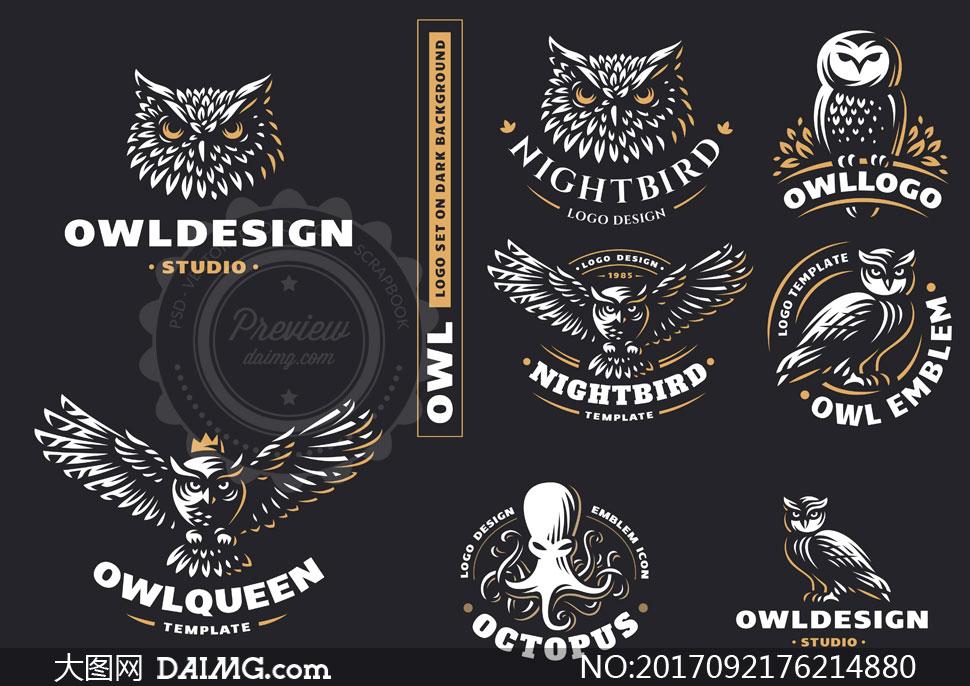 标识标志 > 素材信息          黑猫与猫头鹰元素标志设计矢量素材