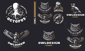 乌贼与猫头鹰元素标志设计矢量素材