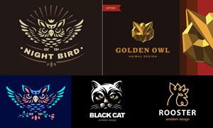 黑猫与猫头鹰元素标志设计矢量素材