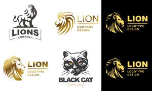 黑猫狮子动物主题标志设计矢量素材