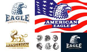 老鹰狮子与星条旗元素标志矢量素材