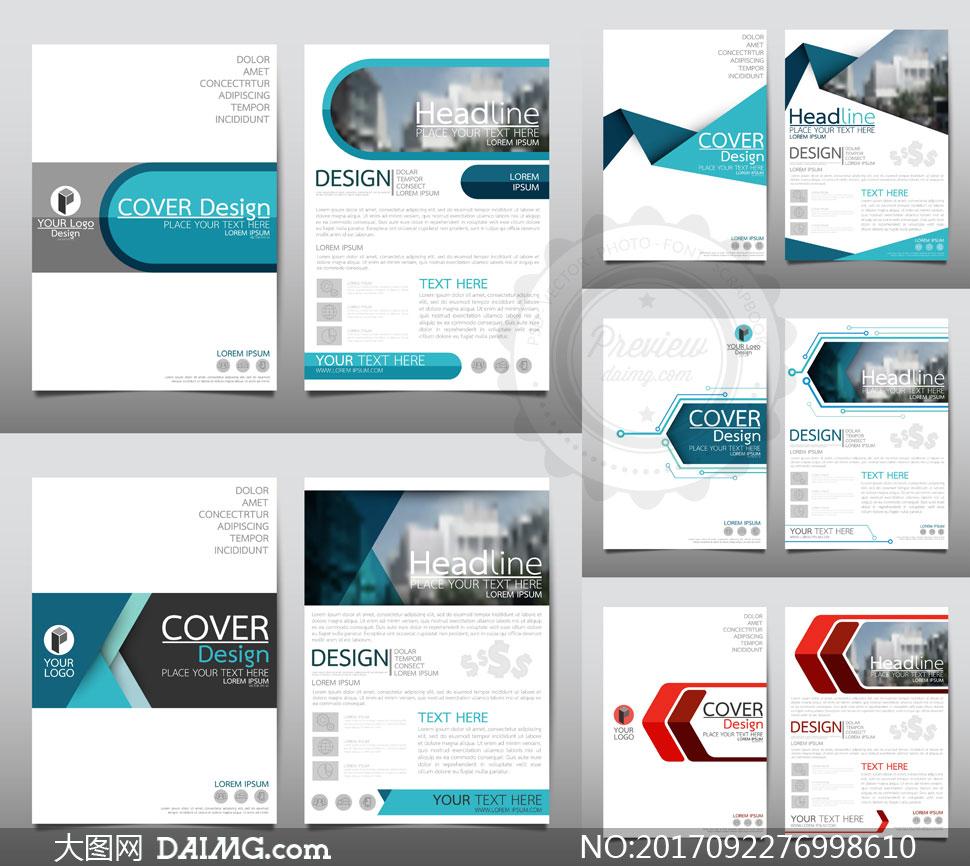 欧美画册封面版式设计矢量素材v01