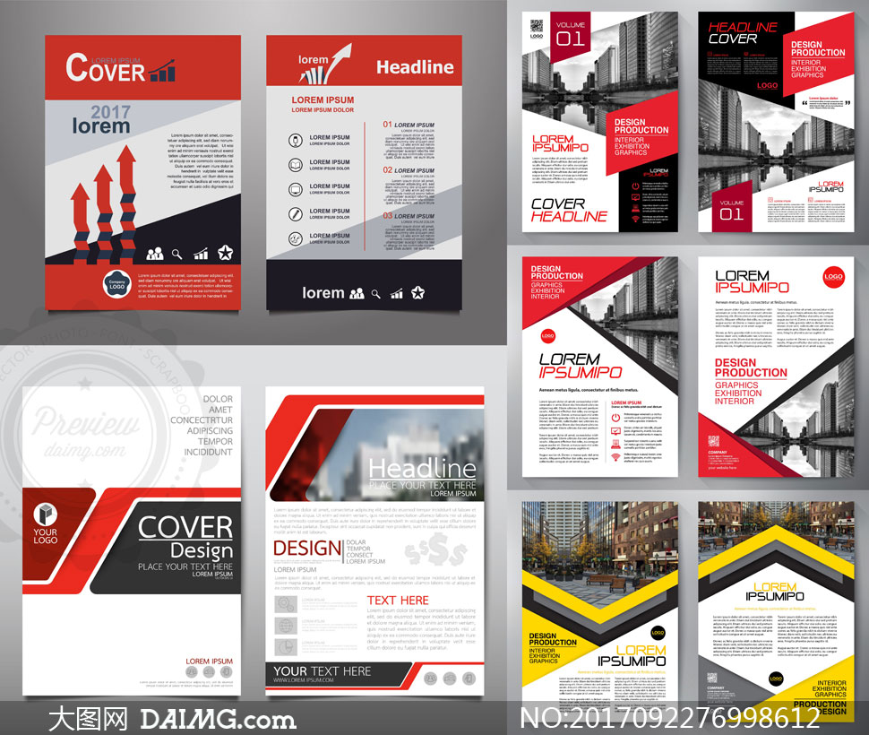版式設計畫冊設計封面設計畫冊封面圖文排版時尚創意幾何抽象紅色黃色