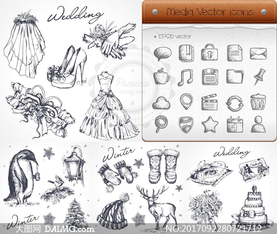 黑白手绘效果花朵等物设计矢量素材