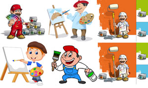 颜料油漆主题卡通创意设计矢量素材