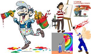 卡通风格画家与油漆工人物矢量素材