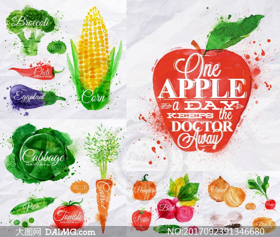 番茄与苹果等蔬果水彩创意矢量素材
