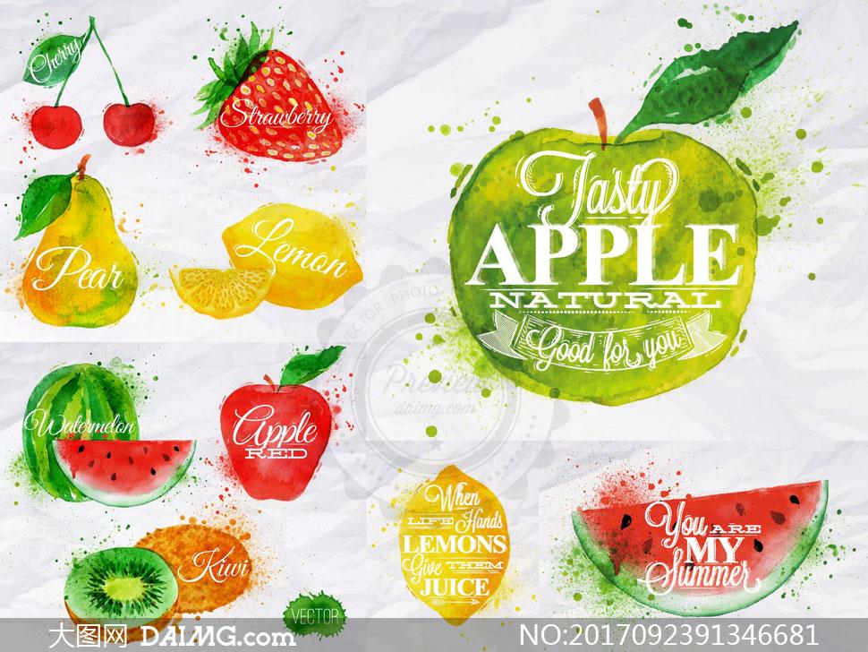 关 键 词: 矢量素材矢量图设计素材创意设计水彩墨迹喷溅墨点水果西瓜