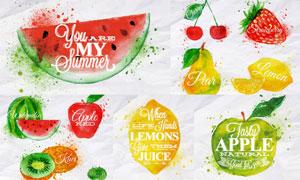鲜艳水彩元素水果创意设计矢量素材