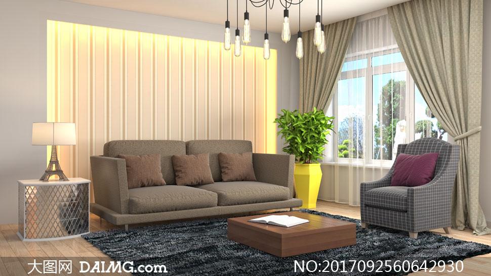 客厅房间照明内景摆设摄影高清图片