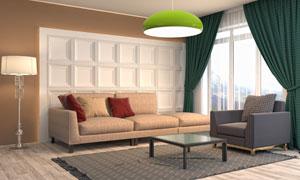 客厅沙发背景墙与灯具摄影高清图片