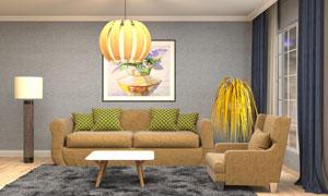 室内植物与沙发茶几落地灯高清图片