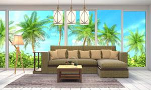 沙发茶几与窗外的美景摄影高清图片