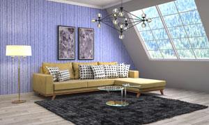 阁楼家具与挂墙上的装饰画高清图片