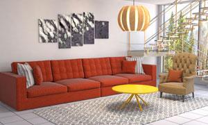 客厅四人座沙发等家具摄影高清图片