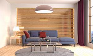 客厅沙发家具与灯具等摄影高清图片