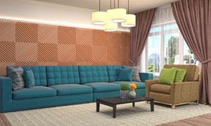 绿植插花与吊灯沙发等摄影高清图片