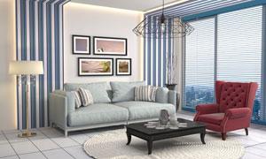 房间沙发家具与装饰画摄影高清图片